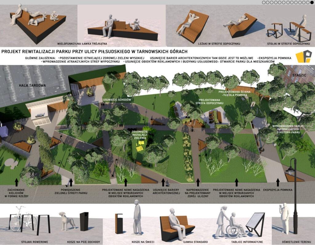 Projekt skweru przed Halą Targową w Tarnowskich górach
