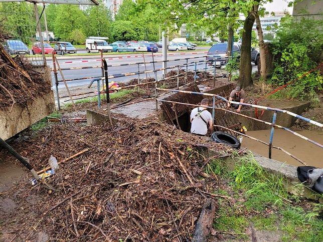 Gliwice: Krzesła i opony znalezione w potoku.